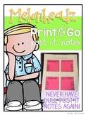 Editable Post It Note Template - 7 sizes { Melonheadz Theme }