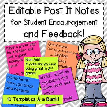 EDITABLE Post It Notes for Student Encouragement and Feedback