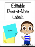 Editable Post-it-Note Sticky Pad Student Name Labels