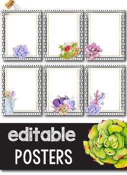 Editable Poster Template - Succulent Theme Classroom