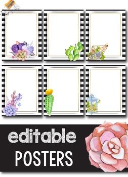 editable poster template succulent theme classroom tpt