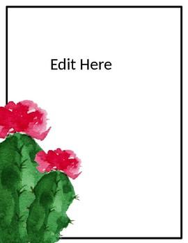 Editable Posters - Classroom Rules - Cactus - Succulents - Decor