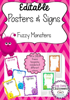 Editable Posters & Signs - Fuzzy Monsters