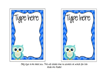 Editable Posters & Signs - Owls