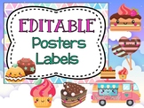 Editable Posters, Task Cards, and Labels - SWEETS TRUCK