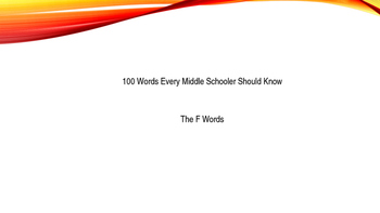 Editable Power Point of 100 Words Every Middle Schooler Sh