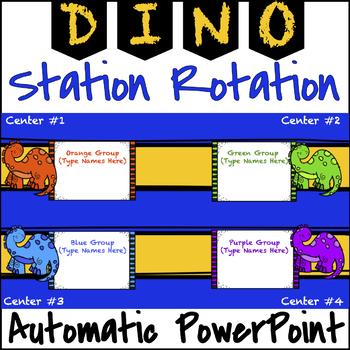 Editable Automatic Station / Center Rotation PowerPoint (Dinosaur Themed)