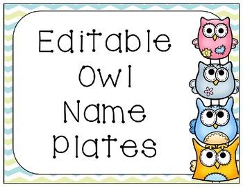 Editable PowerPoint Owl Name Plates