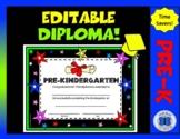 Editable Pre-K Diploma - Diploma and Stars Theme