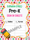 Editable Pre-K Fall Sign In Template
