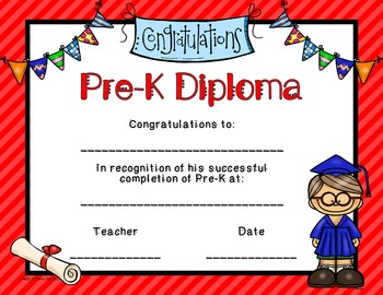 Editable Pre-K Graduation Diplomas
