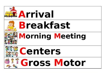 Editable Pre-K Schedule