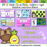 Editable Pre-Primary and Year One Math-Warm-ups Australian Curriculum Aligned