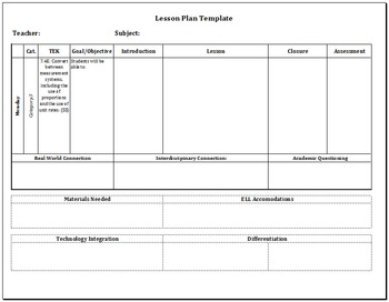Editable Pre-populated Lesson Plan Template - 7th Grade Math TEKS