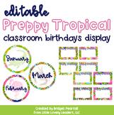 Editable Preppy Tropical Lilly Class Birthdays Bulletin Display