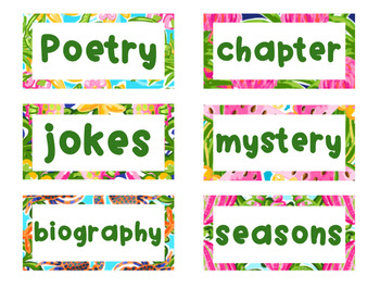 Editable Preppy Tropical Lilly Classroom Supplies and Library Labels
