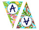 Editable Preppy Tropical Lilly Create Your Own Banner or Bunting - Triangle