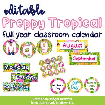 Editable Preppy Tropical Lilly Full Year Calendar
