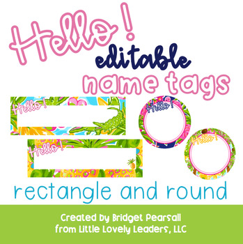 Editable Preppy Tropical Lilly Name Tags - rectangle and round