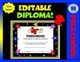 Editable Preschool Diploma - Diploma and Stars Theme