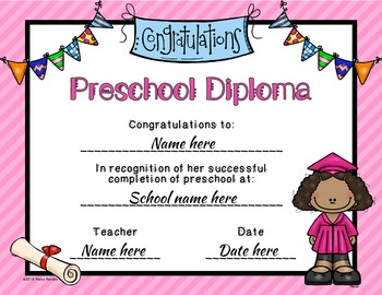 editable preschool graduation diplomas