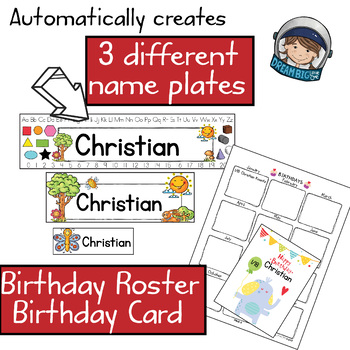 Back to School Editable Preschool Name Plates, Birthday Rosters and more