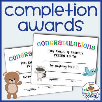 editable end of the year awards for preschool, pre-k & kindergarten