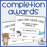 End of the Year Completion Awards for Preschool, Pre-K & K