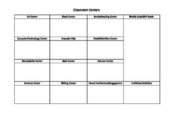 Editable Preschool/Pre-K Lesson Plan Grid
