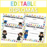 Editable Preschool and Kindergarten Diplomas