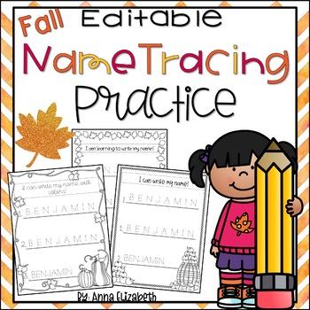 Fall Editable Name Tracing Practice