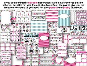 Editable Pretty Paisley Class Decor Kit