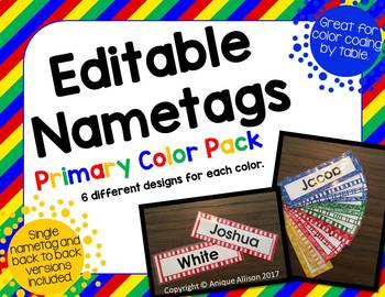 Editable Primary Color Nametags/Name Plates
