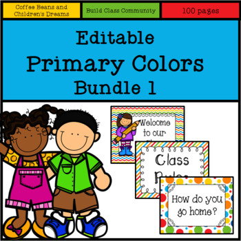 Editable Primary Colors Bundle 1