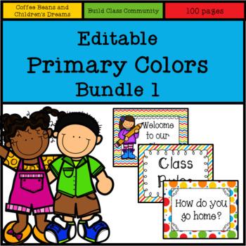 Editable Primary Colors Set  1