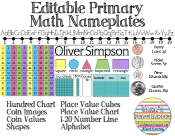 Editable Primary Math Nameplate