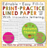 Fall Theme Editable Print-Practice Paper Free Download
