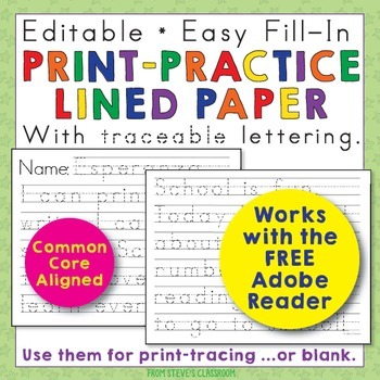 editable print practice paper by the illustrated classroom tpt