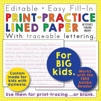 Editable Print-Practice Paper - Smaller Traceable Text - F
