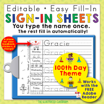 Morning Work Name Writing Practice Sign In Sheets - 100th Day of School Theme