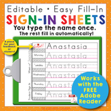 Preschool and Kindergarten Name Writing Practice Sign In Sheets