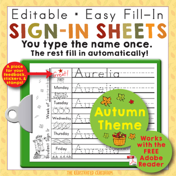 Morning Work Name Writing Practice Sign In Sheets - Fall Theme
