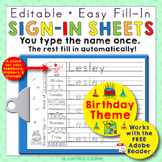 Morning Work Name Writing Practice Sign In Sheets - Birthday Theme