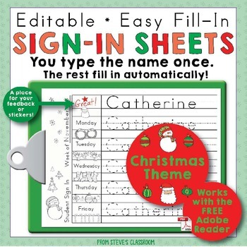 Morning Work Name Writing Practice Sign In Sheets - Christmas Theme