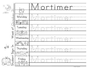 Morning Work Name Writing Practice Sign In Sheets - Halloween Theme