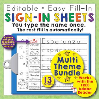 Morning Work Name Writing Practice Sign In Sheets Multi Theme Bundle