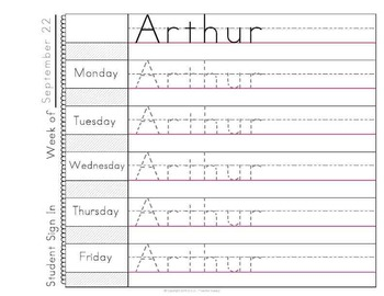 Morning Work Name Writing Practice Sign In Sheets - Multi-Name Version