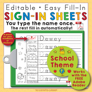 Back to School Name Writing Practice Sign In Sheets - Back to School Theme