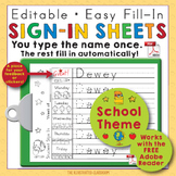 Back to School Name Writing Practice Sign In Sheets - School Theme