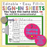 Morning Work Name Writing Practice Sign In Sheets - Spring Theme
